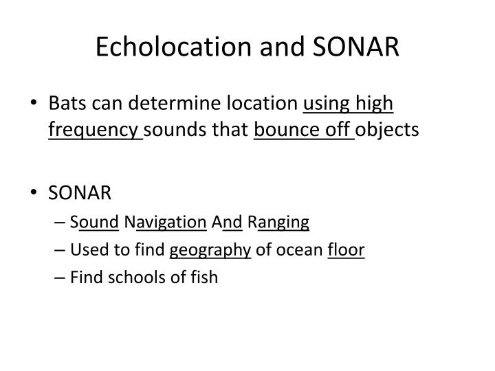 Echolocation and SONAR