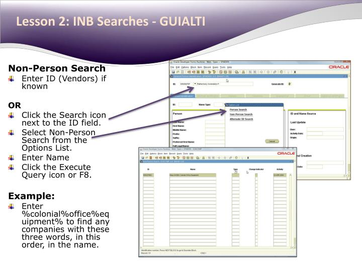 Lesson 2: INB Searches - GUIALTI