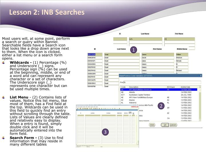Lesson 2: INB Searches