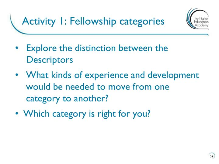 Activity 1: Fellowship categories
