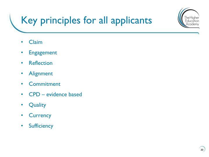 Key principles for all applicants