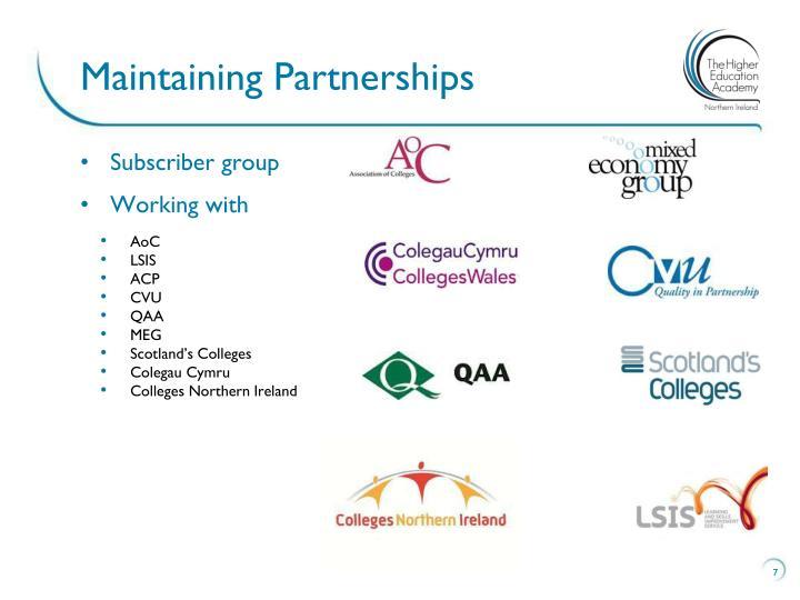 Maintaining Partnerships