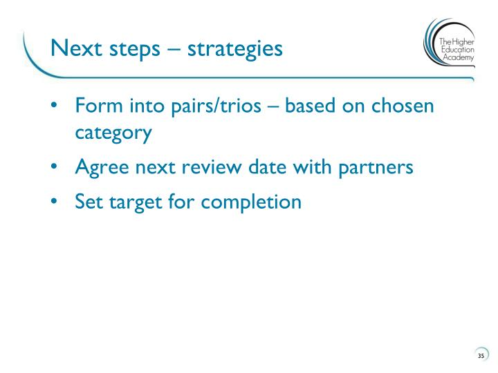 Next steps – strategies