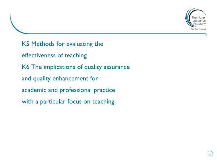 K5 Methods for evaluating the
