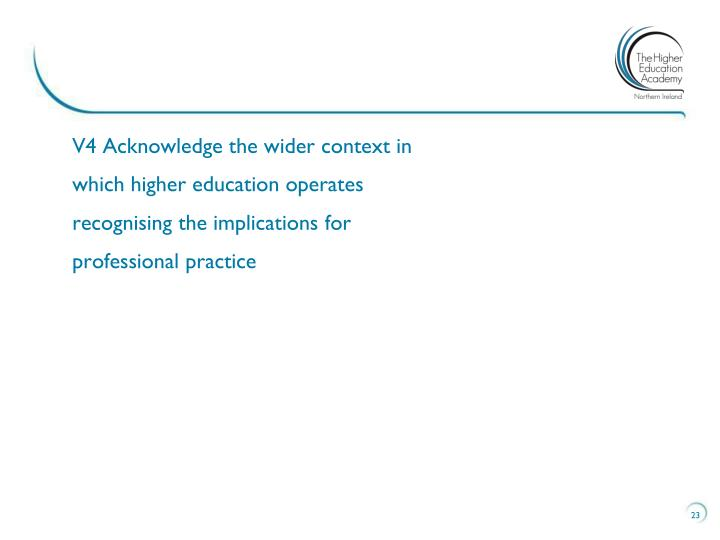 V4 Acknowledge the wider context in