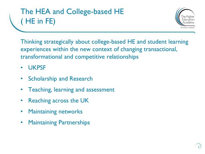 The HEA and College-based HE