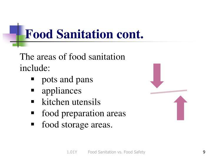 Food Sanitation cont.
