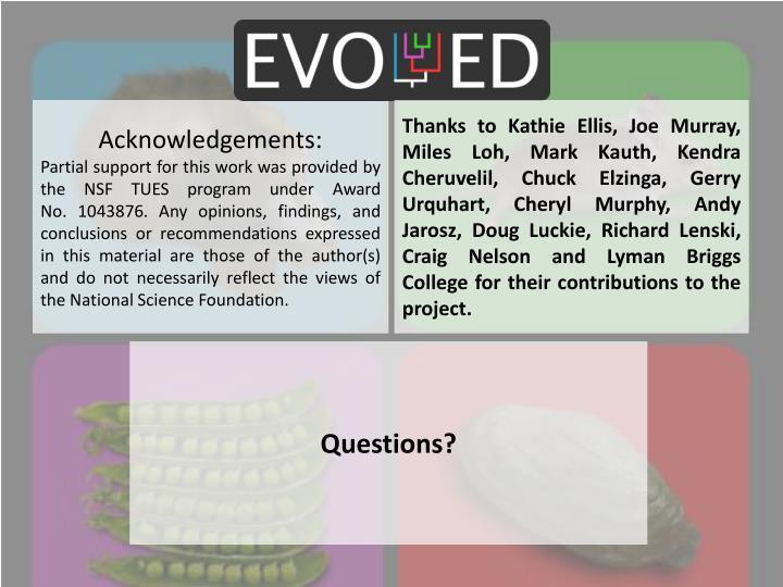 Thanks to Kathie Ellis, Joe Murray, Miles