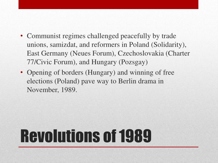 Communist regimes challenged peacefully by trade unions, samizdat, and reformers in Poland (Solidarity), East Germany (