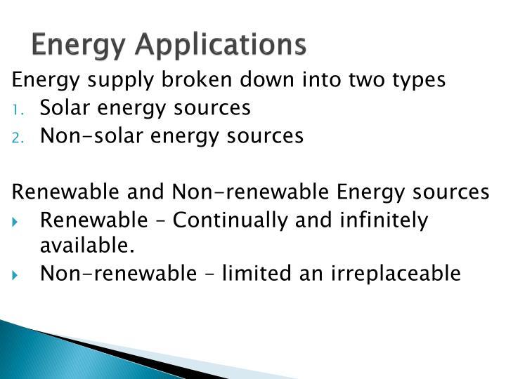 Energy Applications