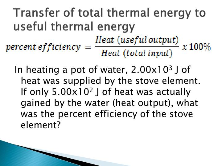 Transfer of total thermal energy to useful thermal energy