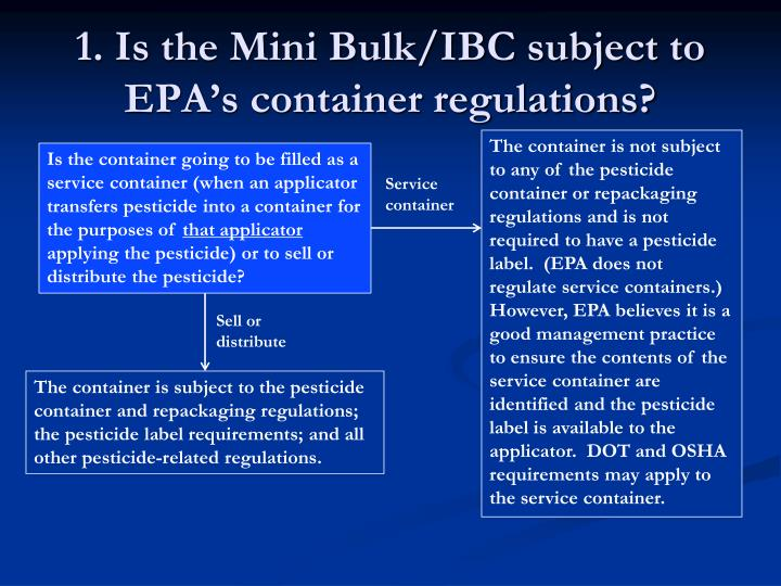 1. Is the Mini Bulk/IBC subject to EPA's container regulations?