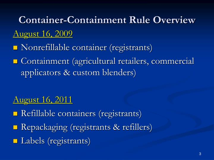 Container-Containment Rule Overview
