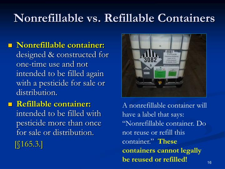 Nonrefillable vs. Refillable Containers