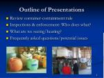 outline of presentations