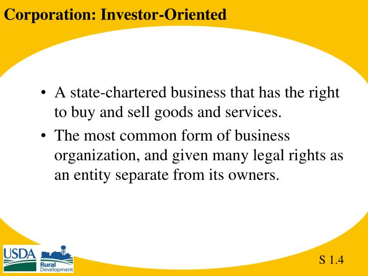 Corporation: Investor-Oriented