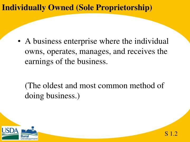Individually Owned (Sole Proprietorship)