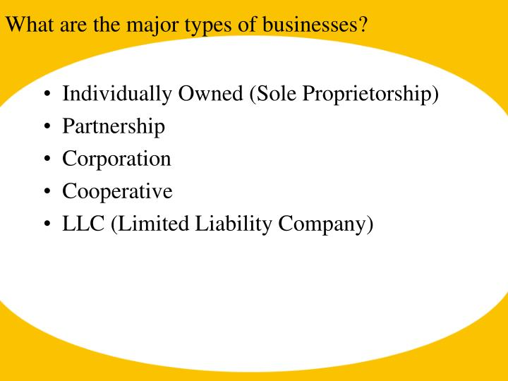What are the major types of businesses?