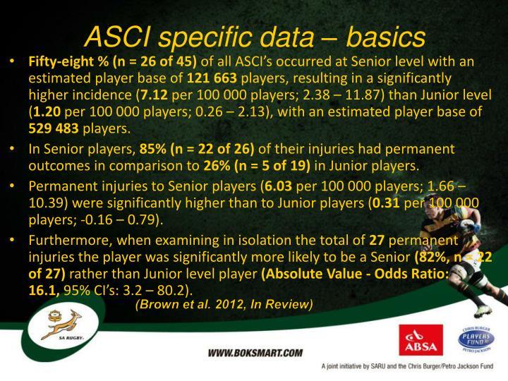 ASCI specific data – basics