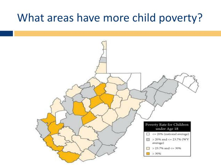 What areas have more child poverty?
