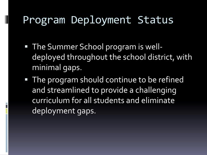 Program Deployment Status