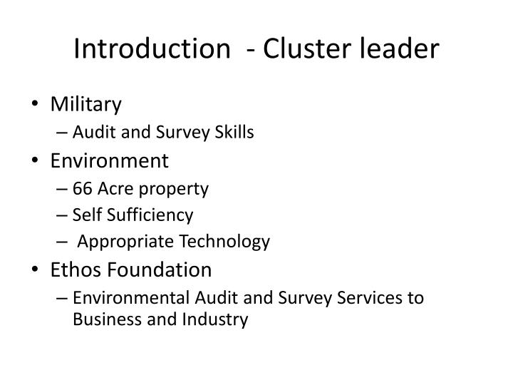 Introduction  - Cluster leader