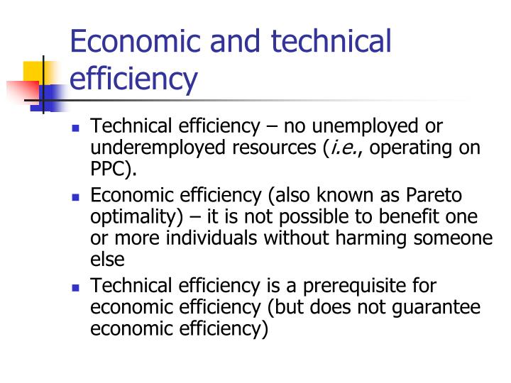 Economic and technical efficiency
