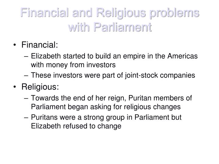 Financial and Religious problems