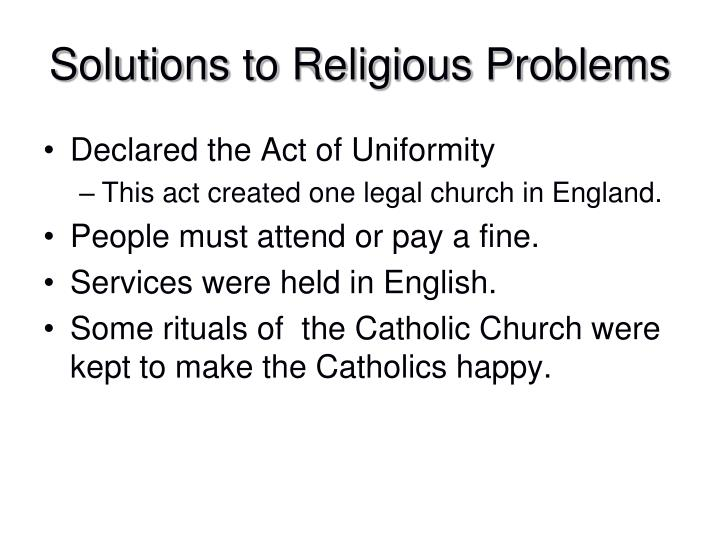 Solutions to Religious Problems