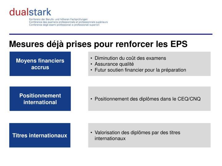 Mesures déjà prises pour renforcer les EPS