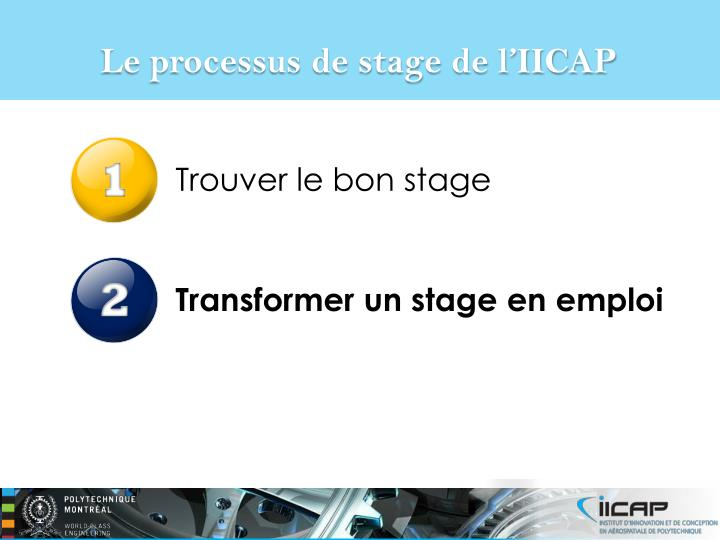 Le processus de stage de l'IICAP