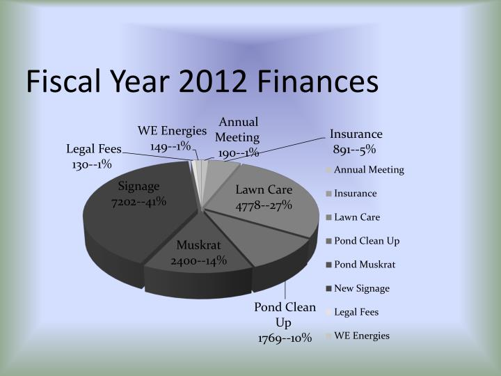 Fiscal Year 2012 Finances