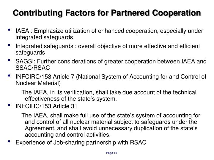 Contributing Factors for Partnered Cooperation