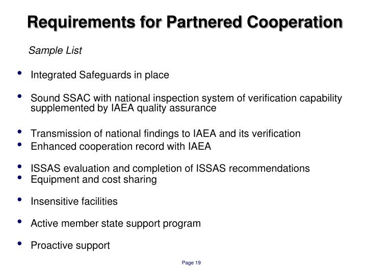 Requirements for Partnered Cooperation