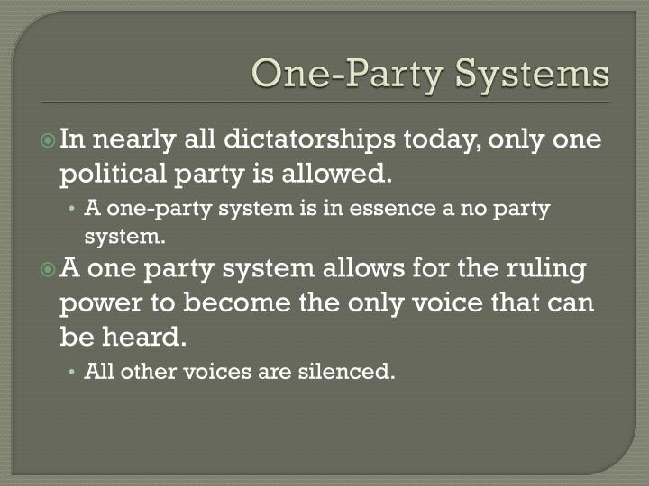 One-Party Systems