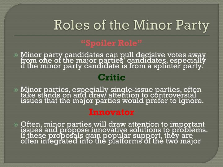 Roles of the Minor Party