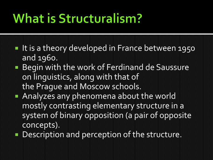 structuralism developed by ferdinand de saussure essay Structuralism in europe developed in the early 1900s, in the structural linguistics of ferdinand de saussure and the subsequent prague , moscow and copenhagen schools of linguistics in the late 1950s and early 1960s, when structural linguistics was facing serious challenges from the likes of noam chomsky and thus fading in importance, an array .