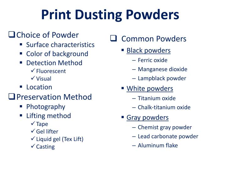 Print Dusting Powders