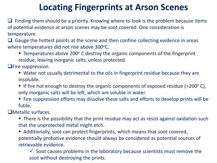 Locating Fingerprints at Arson Scenes