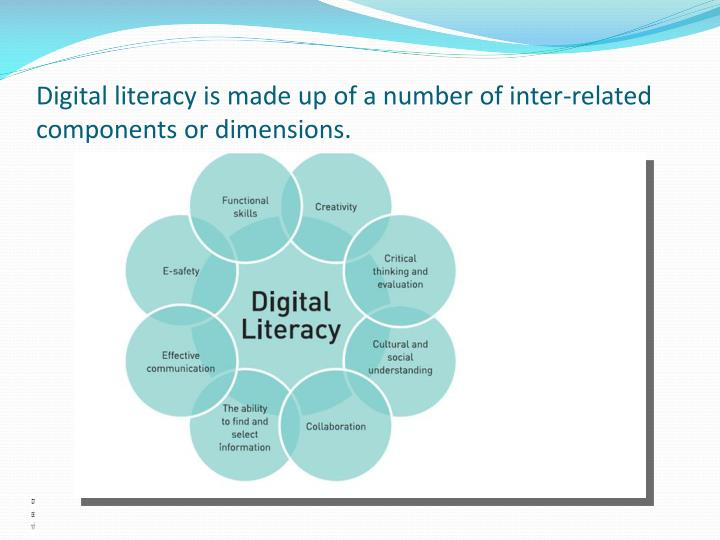 Digital literacy is made up of a number of inter-related components or dimensions.