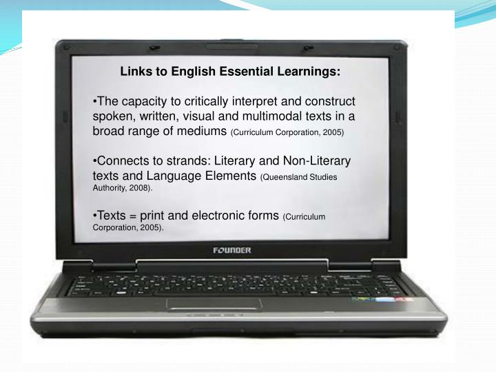 Links to English Essential Learnings: