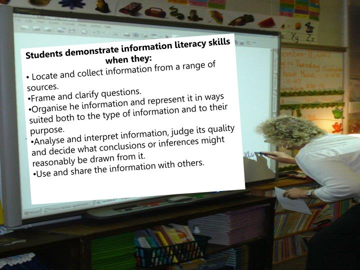 Students demonstrate information literacy skills when they: