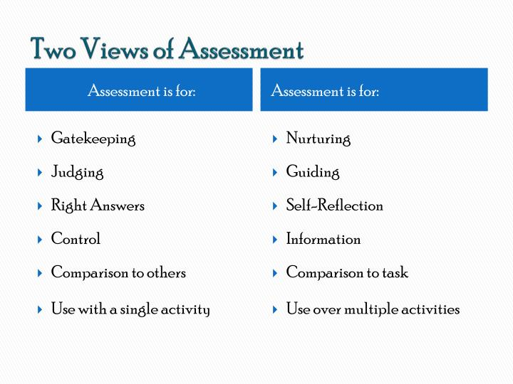Two Views of Assessment
