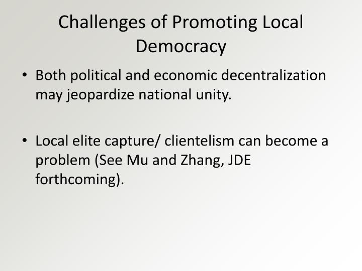 Challenges of Promoting Local Democracy
