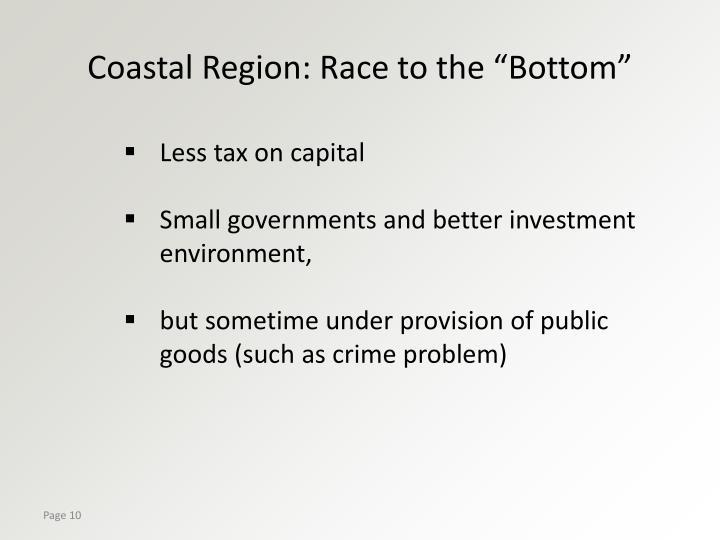 "Coastal Region: Race to the ""Bottom"""