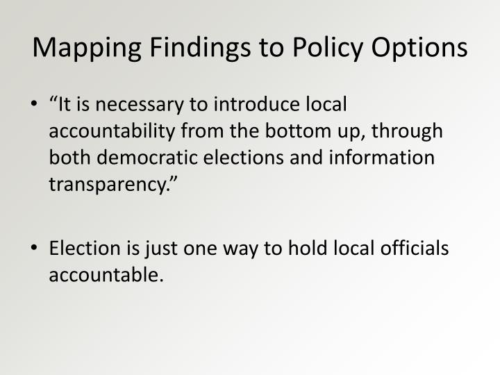 Mapping Findings to Policy Options