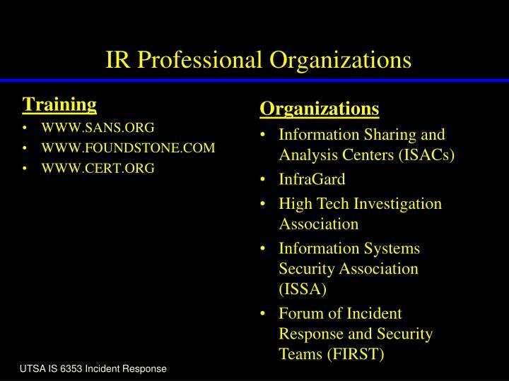 IR Professional Organizations