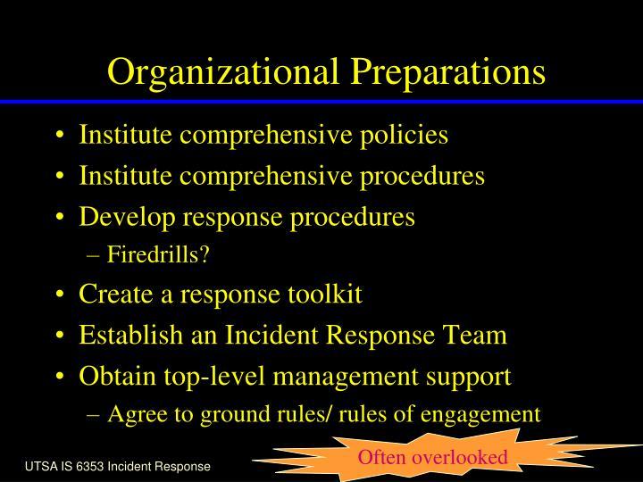 Organizational Preparations
