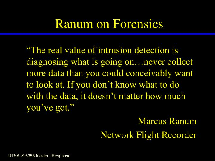 Ranum on Forensics