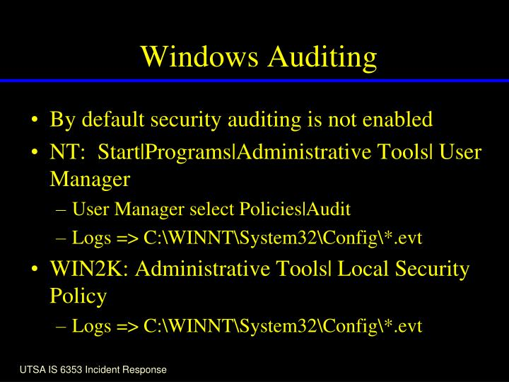 Windows Auditing